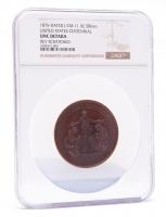 1876 United States Centennial 58mm Bronze Medal J-CM-11 (NGC UNC Details) at PristineAuction.com