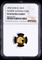 1996 Cook Islands $10 Olympic National Park Gold Coin (NGC PF 69 Ultra Cameo) at PristineAuction.com