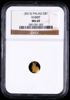 2013 Palau $1 Year of the Rabbit, Lunar Series Rabbit Shaped Gold Coin (NGC MS69) at PristineAuction.com