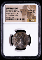 Philip I (c.95-75 BC) Greek Coinage, Ancient Seleucid Kingdom - AR Silver Tetradrachm (NGC Fine) at PristineAuction.com