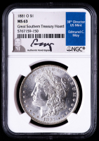 1881-O Morgan Silver Dollar - Great Southern Treasury Hoard (NGC MS63) (Moy Signed Label) at PristineAuction.com