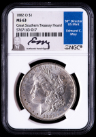 1882-O Morgan Silver Dollar - Great Southern Treasury Hoard (NGC MS63) (Moy Signed Label) at PristineAuction.com
