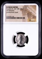 Faustina Sr.  AD 138-140/1 - Roman Empire AR Denarius Silver Coin - Posthumous Issue (NGC Encapsulated) at PristineAuction.com