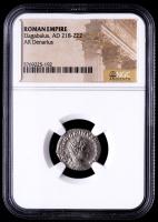 Elagabalus, AD 218-222 - Roman Empire AR Denarius Silver Coin (NGC Encapsulated) at PristineAuction.com