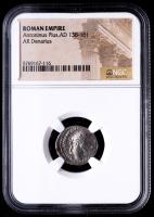 Antoninus Plus, AD 138-161 - Roman Empire AR Denarius Silver Coin (NGC Encapsulated) at PristineAuction.com