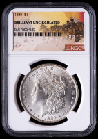 1885 Morgan Silver Dollar - Stage Coach Label (NGC Brilliant Uncirculated) at PristineAuction.com