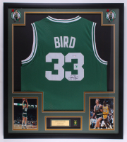 Larry Bird Signed 32x36 Custom Framed Jersey With #33 Jersey Retirement Pin (PSA COA & Bird Hologram) at PristineAuction.com
