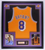 Kobe Bryant 32x36 Custom Framed Jersey Display with Lakers Championship Pin at PristineAuction.com