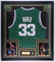 Larry Bird Signed 32.5x36.5 Custom Framed Jersey With 17x NBA Champion Pin (PSA COA & Bird Hologram) at PristineAuction.com