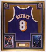 Kobe Bryant 32x36 Custom Framed Jersey Display with The Finals Pin at PristineAuction.com