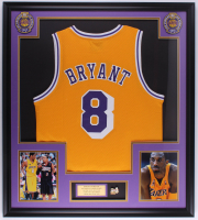Kobe Bryant 32x36 Custom Framed Jersey With 2010 Finals Pin at PristineAuction.com