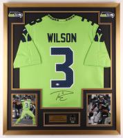 Russell Wilson Signed 32x36 Custom Framed Jersey Display with Super Bowl Pin (PSA COA & Wilson Hologram) at PristineAuction.com