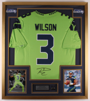 Russell Wilson Signed 32x36 Custom Framed Jersey Display with Super Bowl Pin (Wilson COA) at PristineAuction.com