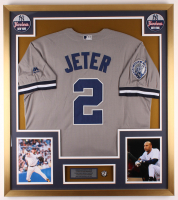 Derek Jeter Yankees 32x36 Custom Framed Jersey Display With #2 Captain Pin at PristineAuction.com
