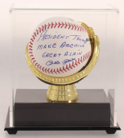 """Pete Rose Signed OML Baseball Inscribed """"President Trump Make America Great Again"""" with Display Case (JSA COA) at PristineAuction.com"""