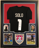 Hope Solo Signed 34x42 Custom Framed Jersey (JSA COA) at PristineAuction.com