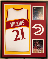 Dominique Wilkins Signed 34x42 Custom Framed Jersey (JSA COA) at PristineAuction.com