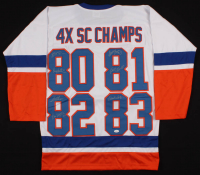 "New York Islanders ""4X SC Champs"" Jersey Signed by (7) with Denis Potvin, Bob Nystrom, Billy Smith, Butch Goring, Bryan Trottier (JSA COA) at PristineAuction.com"