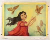 """Isis Dora Signed """"Girl of Owls"""" 28x36 Original Oil Painting on Canvas (PA LOA) at PristineAuction.com"""