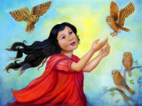 "Isis Dora Signed ""Girl of Owls"" 28x36 Original Oil Painting on Canvas (PA LOA) at PristineAuction.com"