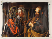 """Hector Monroy Signed """"The Denial of St.Peter"""" 25.5x33.5 Original Oil Painting on Canvas (PA LOA) at PristineAuction.com"""