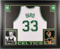 Larry Bird Signed Celtics 35x43 Custom Framed Jersey (JSA COA & Bird Hologram) (Imperfect) at PristineAuction.com