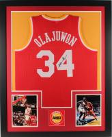 Hakeem Olajuwon Signed Rockets 35x43 Custom Framed Jersey (JSA Hologram) (Imperfect) at PristineAuction.com