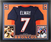 John Elway Signed Broncos 35x43 Custom Framed Jersey (JSA COA & Elway Hologram) (Imperfect) at PristineAuction.com