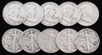 Lot of (10) 1942-63 Silver Half Dollars With (5) Walking Liberty & (5) Franklin at PristineAuction.com