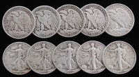 Lot of (10) 1935-43 Walking Liberty Silver Half Dollars at PristineAuction.com