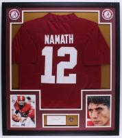 Joe Namath Signed 32x36 Custom Framed Cut Display with Alabama Pin (PSA COA) at PristineAuction.com