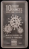 "10 Troy Oz .999 Fine Silver ""Minted During the Covid-10 Pandemic"" Bullion Bar at PristineAuction.com"