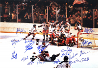 """1980 Team USA """"Miracle On Ice"""" 16x20 Photo Signed by (18) with Jim Craig, Mike Eruzione, Bill Baker, Dave Christian (Schwartz COA) at PristineAuction.com"""