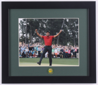 Tiger Woods 13x15 Custom Framed Photo Display with Masters Tournament Ball Marker at PristineAuction.com