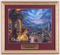 "Thomas Kinkade Walt Disney's ""Beauty & the Beast"" 14.5x16 Custom Framed Print Display at PristineAuction.com"
