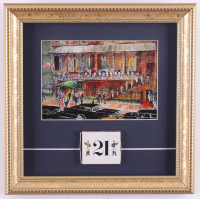 "LeRoy Neiman ""The 21 Club New York City"" 11x11 Custom Framed Print Display with Vintage Matchbox at PristineAuction.com"