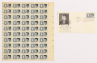 1963 Uncut Sheet of (50) Unused John F. Kennedy Stamps with 1964 FDC Envelope at PristineAuction.com