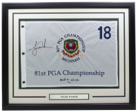 "Tiger Woods Signed LE 81st PGA Championship 25x35 Custom Framed Golf Pin Flag Inscribed ""World #1"" 8/99-9/04"" (UDA COA) at PristineAuction.com"