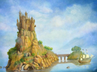 "Isis Dora Signed ""The Castle of Fantasy"" 24x31 Original Oil Painting on Canvas (PA LOA) at PristineAuction.com"