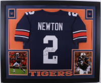 Cam Newton Signed 35x43 Custom Framed Jersey (PSA COA & Newton Hologam) (Imperfect) at PristineAuction.com