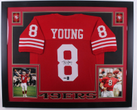 Steve Young Signed 35x43 Custom Framed Jersey (Tristar & Young Hologram) (Imperfect) at PristineAuction.com
