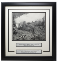 """""""United States Marine Corps Smoke Out Japanese Soldiers"""" 17x18 Custom Framed World War II Photo Display at PristineAuction.com"""