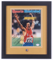 """Bruce Jenner Signed 13x15 Custom Framed Photo Display Inscribed """"Best of Luck"""" With Olympics Pin (PSA COA) at PristineAuction.com"""
