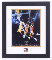 Kobe Bryant Lakers 13x15 Custom Framed Photo Display with Lakers Pin at PristineAuction.com