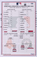 Red Sox vs A's Game-Used Major League Baseball Lineup Card from 2011 (Steiner LOA & MLB Hologram) at PristineAuction.com
