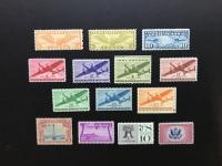 Lot of (14) Vintage 1928-1957 Airmail United States Postage Stamps with #C7, #C11, #C16, #C17, #C25, #C26, #C27, #C28, #C29, #C30, #C31, #C46, #C57 & #CE2 at PristineAuction.com