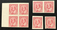 Lot of (8) Vintage 1903 King Edward VII Two Cent Canada Postage Stamps Scott #902 with (1) Uncut Block of (4), (1) Uncut Pair of (2), (1) Mint OG NH Single Stamp & (1) Single Used Stamp at PristineAuction.com