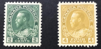 Lot of (2) Vintage 1922 King George V Canada Postage Stamps with (1) Two Cent Scott #107 & (1) Four Cent Scott #110 at PristineAuction.com