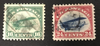 Lot of (2) Vintage 1918 Curtis Jenny Airmail United States Postage Stamps with #C2 & #C3 at PristineAuction.com