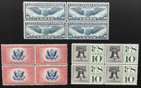 Lot of (3) Vintage United States Airmail Postage Stamp Blocks of (4) Stamps with 1939 #C24, 1936 #C2 & 1957 #C57 at PristineAuction.com